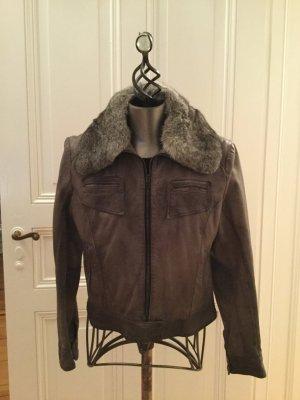 Oakwood Leather Jacket dark grey-anthracite leather