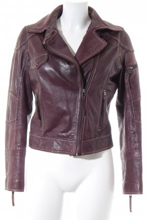 Oakwood Lederjacke bordeauxrot-hellgrau Rockabilly-Look