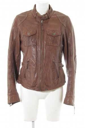 Oakwood Veste en cuir brun Look de motard
