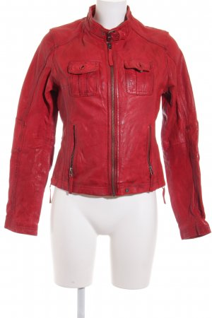 Oakwood Veste en cuir rouge foncé Look de motard
