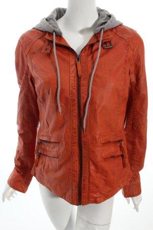 Oakwood Lederjacke grau-orange Casual-Look