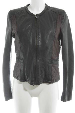 Oakwood Giacca in pelle nero-marrone stile da moda di strada