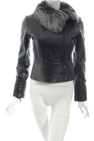 Oakwood Lederjacke schwarz-grau Biker-Look