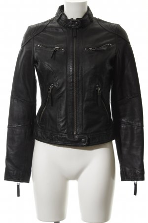 Oakwood Lederjacke schwarz-silberfarben Rockabilly-Look