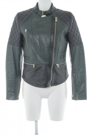 Oakwood Lederjacke waldgrün-schwarz Colourblocking Biker-Look