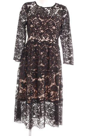 Oasis A-Linien Kleid creme-schwarz florales Muster Elegant