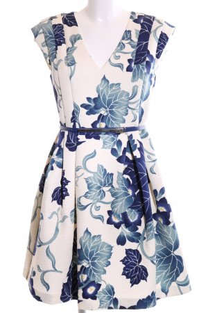 Oasis A-Linien Kleid wollweiß-blau Allover-Druck Elegant