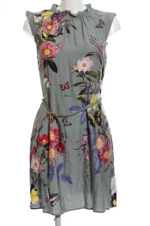 Oasis A-Linien Kleid graugrün-hellgrün florales Muster Casual-Look