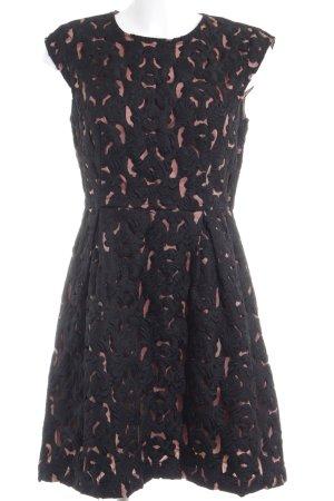 Oasis Abendkleid schwarz-hellbraun florales Muster Elegant