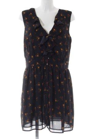 Oasis Robe chemisier noir-orange clair motif de fleur style décontracté