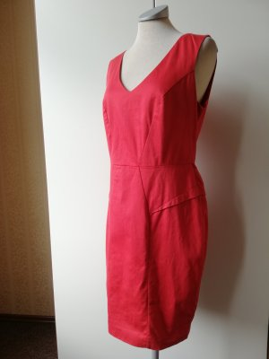 Oasis Etuikleid rot Kleid Baumwolle UK 10 EUR 38 S M tailliert
