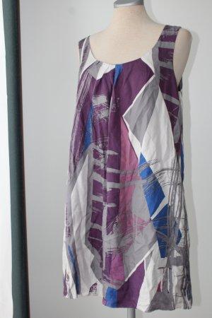 Oasis Gr. 38 S M superleicht Sommerkleid 100% Seide Minikleid Grafik Kleid kurz lila grau