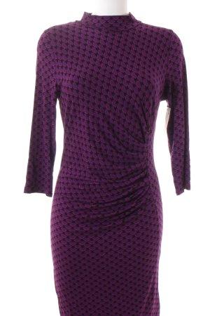 Oasis Jerseykleid lila-schwarz grafisches Muster Casual-Look