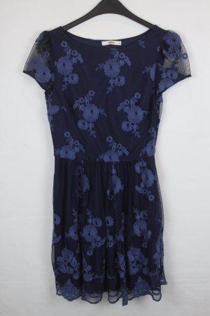 Oasis Kleid Gr. S dunkelblau mit Stickapplikationen (18/4/121)