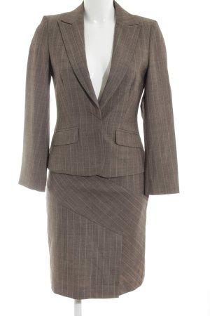Oasis Kostüm braun-wollweiß Streifenmuster Business-Look