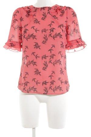 Oasis Kurzarm-Bluse pink-schwarz Animalmuster Casual-Look