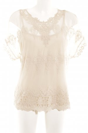 Oasis Kurzarm-Bluse creme Casual-Look