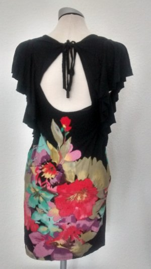 Oasis kurzarm Kleid mini rückenfrei Gr. UK 10 EUR 36 schwarz Blumen Minikleid