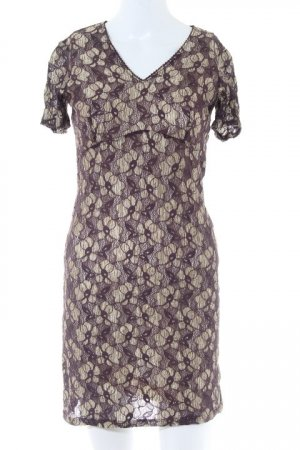 Oasis Kurzarmkleid creme-bordeauxrot florales Muster Street-Fashion-Look