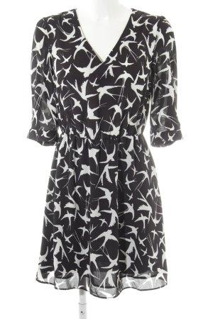 Oasis Langarmkleid schwarz-weiß abstraktes Muster Casual-Look