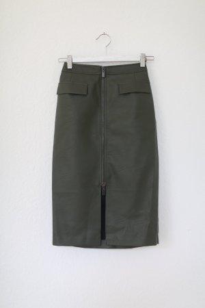Oasis Lederrock Kunstleder Midi Grün Khaki Pencil Skirt Gr. 36 Bleistiftrock High waist