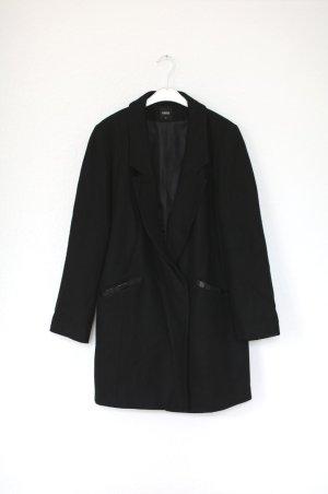 Oasis Mantel Car Coat in schwarz mit Leder Details Gr. M Vintage Stil Blogger
