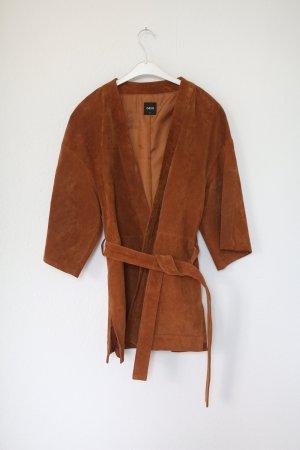 Oasis Mantel Leder Kimono aus Wildleder Braun Suede Vintage Hippie Look Gr. S