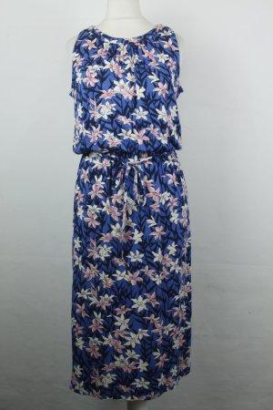 Oasis Midikleid Kleid Gr. XS blau gemustert