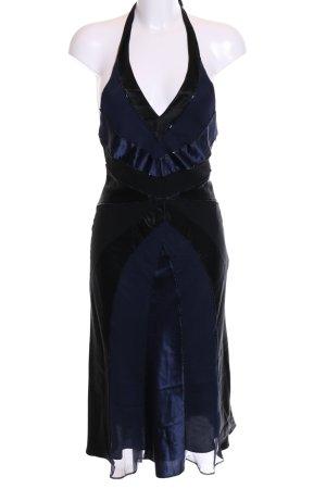 Oasis Neckholderkleid blau-schwarz extravaganter Stil