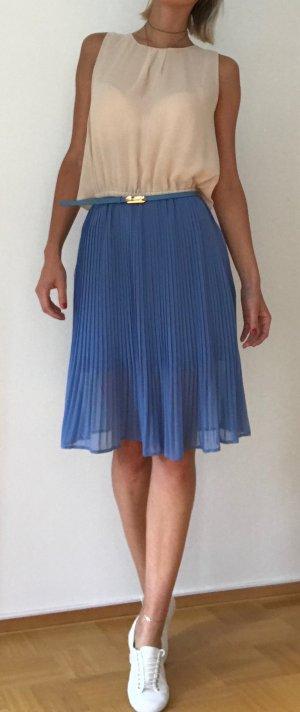 OASIS Plisseekleid - Midikleid mit Gürtel - Damen - creme blau - Gr. 34/36