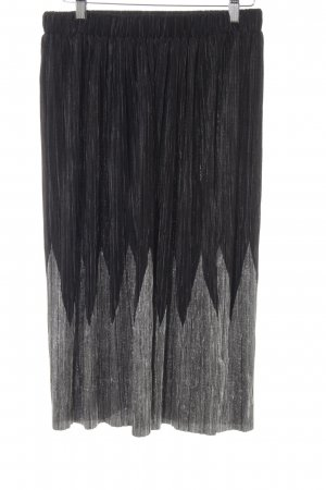 Oasis Pleated Skirt black-silver-colored zigzag pattern casual look