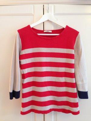 Oasis Pullover, Steifen, 3/4 Arm, Rundkragen, rot beige dunkelbau, Gr.L