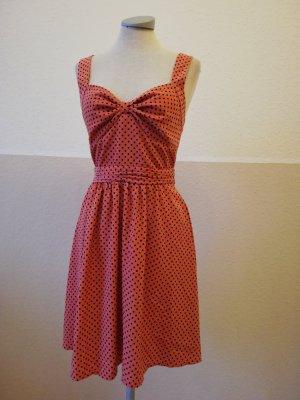Oasis Rockabilly Kleid rosa apricot schwarz Punkte polkadots Gr. UK 8 34 XS neu knielang