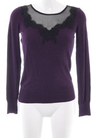 Oasis Pull ras du cou violet foncé-noir style décontracté