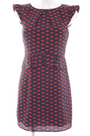 Oasis Peplum Dress dark blue-red themed print extravagant style