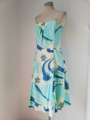 Oasis Seidenkleid Kleid Seide blau Pailletten Corsagekleid trägerlos Midikleid Bandeaukleid Gr.38 S M