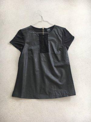 Oasis Shirt Kunstleder spitze schwarz