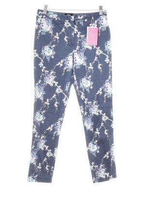 Oasis Pantalon en jersey bleu foncé motif de fleur style décontracté