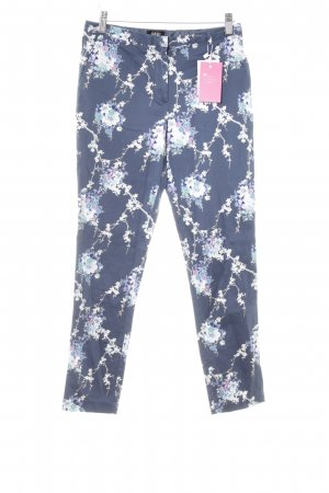 Oasis Stoffhose dunkelblau Blumenmuster Casual-Look