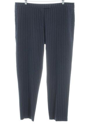 Oasis Pantalon en jersey bleu foncé-blanc rayure fine élégant