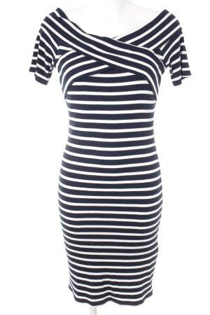 Oasis Vestido elástico azul oscuro-blanco puro estampado a rayas estilo naval