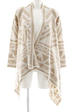 Oasis Strick Cardigan beige-wollweiß abstraktes Muster College-Look