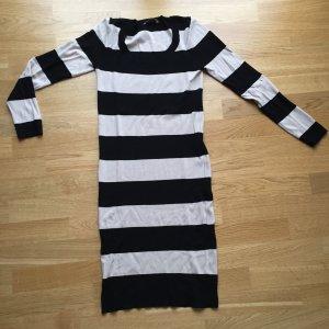 OASIS Strickkleid Kleid Stretchkleid Schlauchkleid schwarz beige Streifen Gr. M