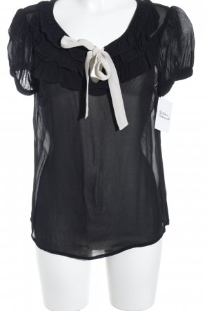 Oasis Transparenz-Bluse schwarz-wollweiß Elegant