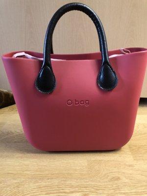 O bag Borsa shopper marrone-nero-rosso lampone