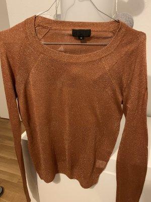 Maglione lungo marrone-oro