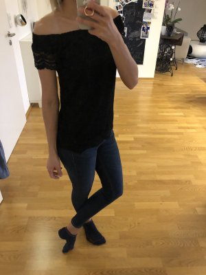 Oberteil Bluse t-Shirt top spitze only schwarz xs s 34 36 Mode Blogger Fashion