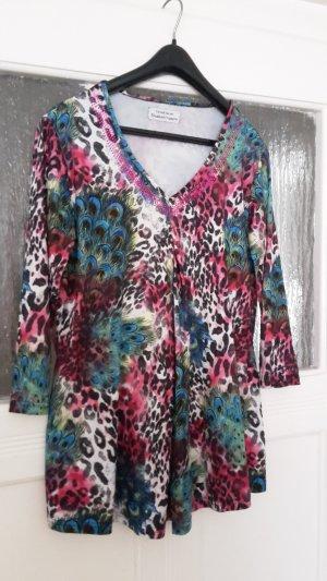 Camisa con cuello V multicolor