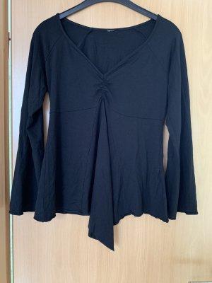 Camisa con cuello caído negro Lino