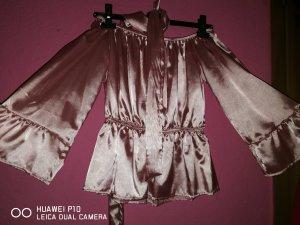 Camisa de un solo hombro color rosa dorado